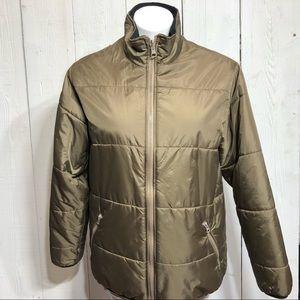 Lands' End Women's Brown Puffer ZIP Up Jacket M